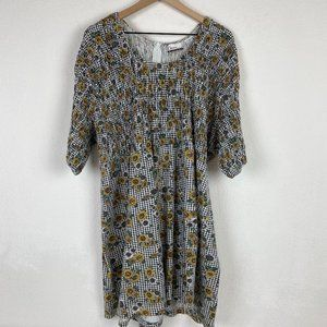 VTG Diana Marco Check Sunflower Print Playsuit